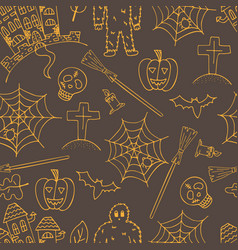 hand-drawn halloween brown seamless pattern with vector image