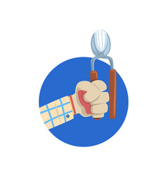 hand holding pruner symbol of the profession of a vector image