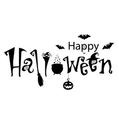 Happy halloween text banner monochrome with bats vector