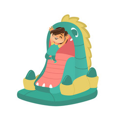 Happy kid child boy jumping on dragon bouncer vector
