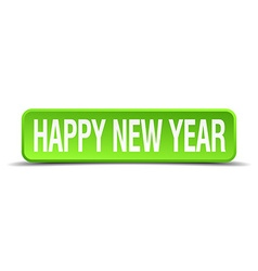 happy new year green 3d realistic square isolated vector image