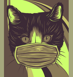 head cat with mask protection for virus vector image