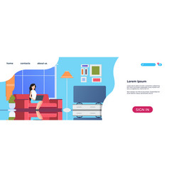 Home interior landing page woman using laptop vector