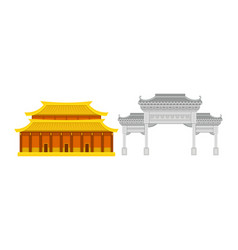 Hong kong travel symbols with architecture vector