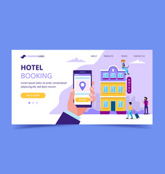 hotel booking landing page template vector image