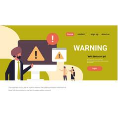 indian businessman warning danger error concept vector image
