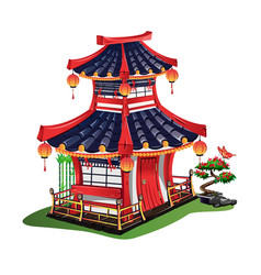 japanese house with roof tiles vector image