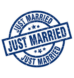 Just married blue round grunge stamp vector