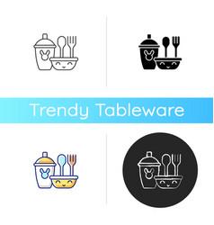 Kids dinnerware icon vector
