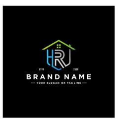 Letter hr home logo design vector
