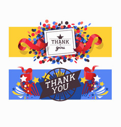 lettering thank you set banners vector image