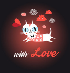 love cat with heart vector image