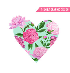 Love romantic floral heart design pink peonies vector