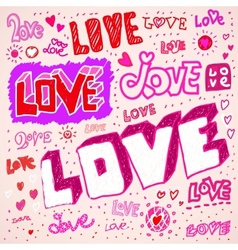 Love sketch doodles vector image