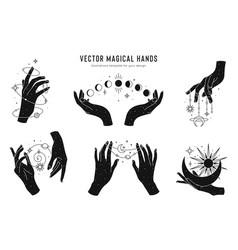 magical hands set logo template linear vector image