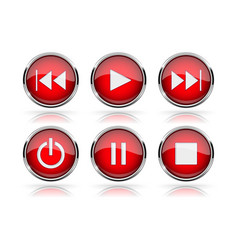 media buttons red round glass buttons with chrome vector image