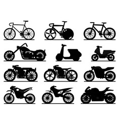 motorbike black silhouettes motorcycles and vector image