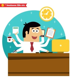 Multitasking and multipurpose businessman vector