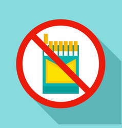 no cigarette pack icon flat style vector image