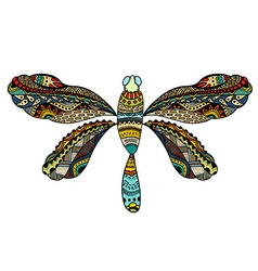 Ornate zentangle dragonfly vector