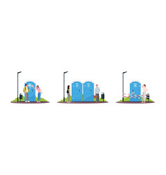 People nearby portable toilets semi flat rgb vector