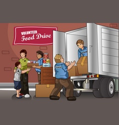 people packing up donation boxes vector image