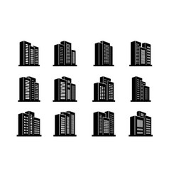 perspective buildings and bank icons set company vector image