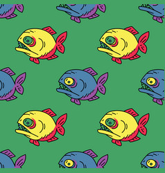 Piranha seamless pattern vector