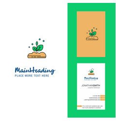 plant creative logo and business card vertical vector image