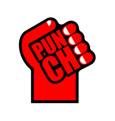 punch symbol fist sign lettering vector image