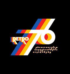 retro style colorful font design alphabet letters vector image