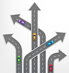 Roads Arrows Travel Background with Cars on White vector