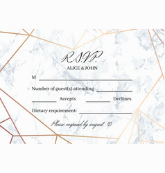 Rsvp geometric design card template vector