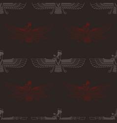 Seamless pattern with sumerian symbol faravahar vector