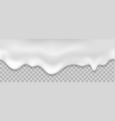 Seamless white creamy drips realistic vector