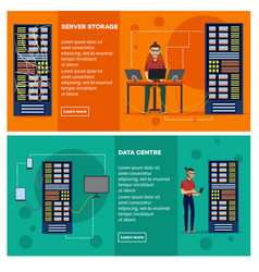 server room banner set with data center and server vector image