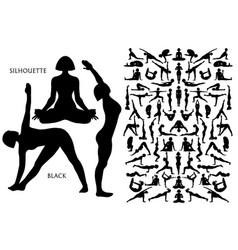 set black silhouette yogi woman pose vector image