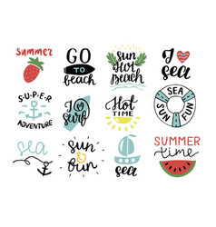 Set of 12 summer logo with hand lettering hot time vector