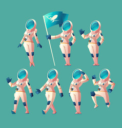 set of astronaut girls in different poses vector image