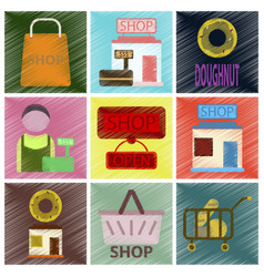Set of flat icons in shading style shop vector