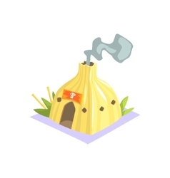 Shaman Hut With Smoke Coming Out Jungle Village vector
