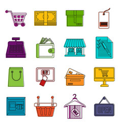 Shopping icons doodle set vector