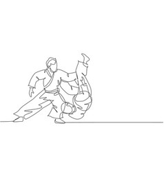 Single continuous line drawing two young vector