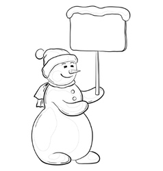 Snowman woman with sign contours vector