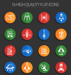 Spacecrafts 16 flat icons vector