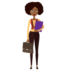 Spectacled african american business woman vector