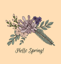 Spring greeting card with flower arrangement vector