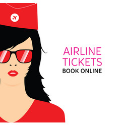 stewardess black in red uniforms with booking vector image