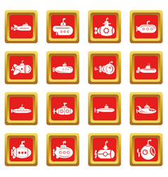 Submarine icons set red square vector
