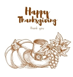 Thanksgiving sketch retro greeting card vector